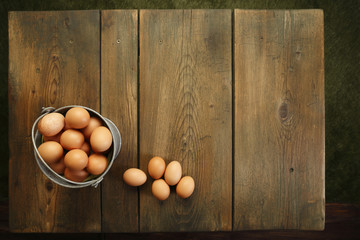 The local eggs on picnic table