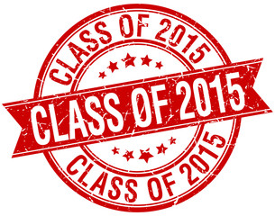 class of 2015 grunge retro red isolated ribbon stamp