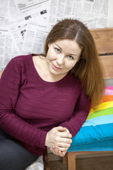 Calm Caucasian woman portrait, brunette with long hair