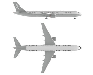 Airplane isolated. Top and Front view