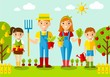 Gardener family, gardenl and landscape with gardening concept