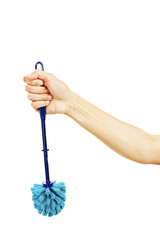 Woman hand with plastic blue toilet brush