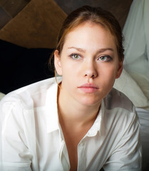 Young woman in a white shirt or blouse