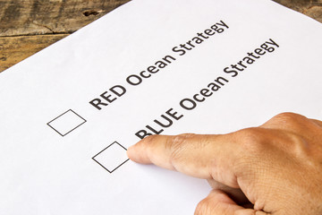 Red ocean and blue ocean strategy check boxes