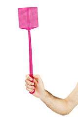 Man hand holding a flyswatter on a white background.
