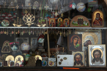 Orthodox icons in a icon shop
