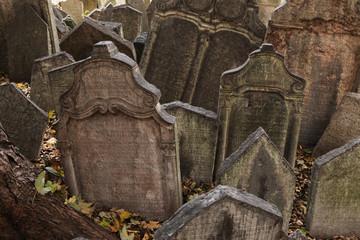 Old Jewish Cemetery in Prague, Czech Republic.