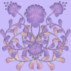 Flower pattern tile design glassy effect