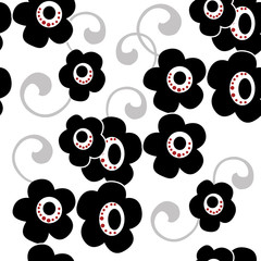 Black flowers on white background floral seamless decorative pat
