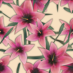 Pink lilly seamless pattern background glass effect