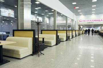 """Interior of the cafe """"Chocolate"""" in Crocus City Mall."""