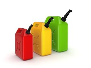 Colorful gasoline jerrycans.