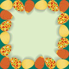 Easter frame with painted eggs.