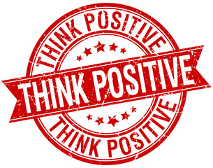 think positive grunge retro red isolated ribbon stamp