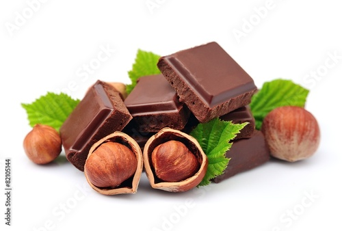 Spoed canvasdoek 2cm dik Dessert Chocolate with nuts closeup