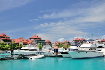Luxury yachts in marina of Eden Island, Seychelles.