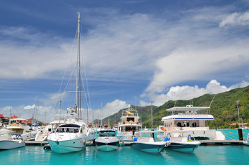 Luxury yachts in marina of Eden Island, Seychelles.