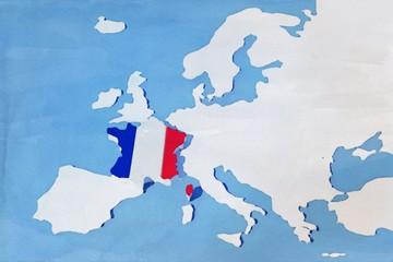 Mappa EU con rilievo colori Francia grunge