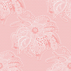 Openwork seamless lace pattern fabric with flowers and leaves