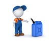 Colorful gasoline jerrycan and 3d small person. - 82105917