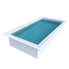 Rectangular pool with water. 3d illustration.