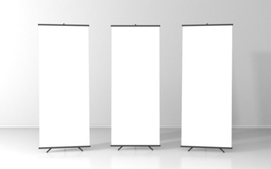 Set of three blank roll up posters - vertical billboard