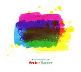 Watercolor vector banner.