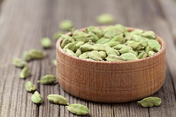 Green cardamom super food ayurveda asian aroma spice herb in a w
