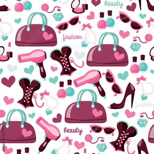 Cotton fabric Girly Fashion Beauty Seamless Pattern Background