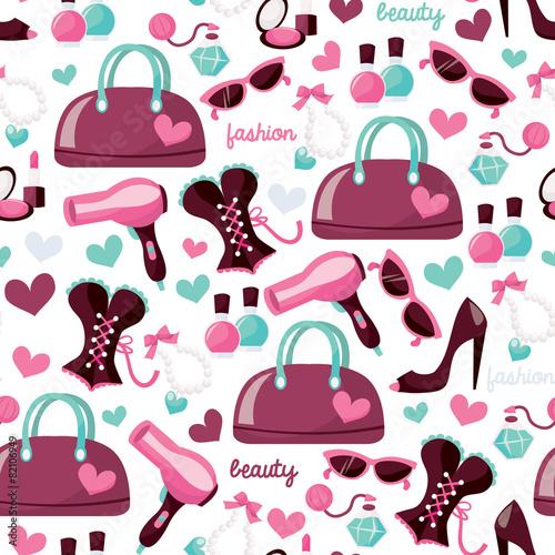 Materiał do szycia Girly moda uroda wzór tła