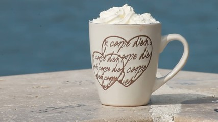 cappuccino on the sea shore -  carpe diem- love- heart
