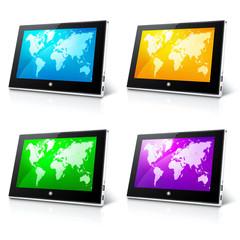 Kolorowe ikony tabletów z mapą świata