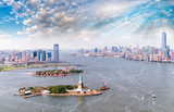 Aerial view of Statue of Liberty - Manhattan and Jersey City - Fine Art prints