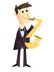 Cartoon Saxophone Player