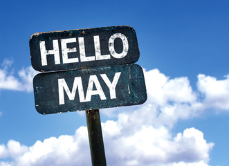 Hello May sign with sky background