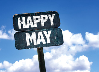 Happy May sign with sky background