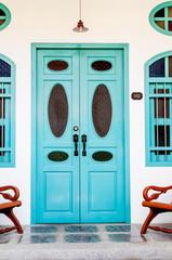 Classic wooden asian style door