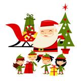 Christmas Santa Elves Scene