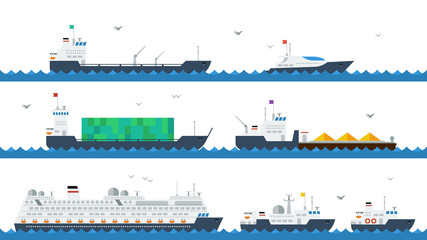 Motor and cargo ships