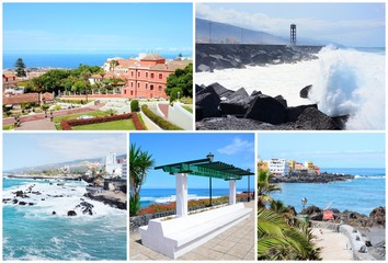 Collage postcard with pictures from places in Tenerife, Spain.