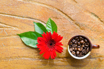 Coffee beans in a mug  with flower and leaves top view