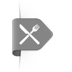 Knife and fork - Grauer Sticker Pfeil mit Schatten