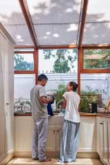 dishwashing couple