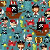 Retro Pirate Adventure Seamless Pattern Background