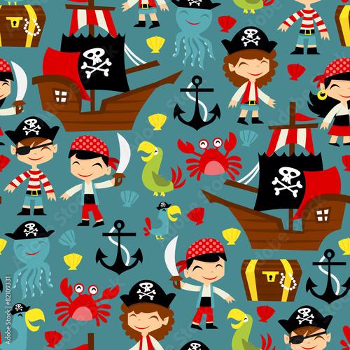 Materiał do szycia Retro Pirate Adventure Seamless Pattern Background