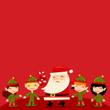 Christmas Santa Elves copy space Background