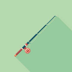 Fishing rod flat square icon with long shadows.