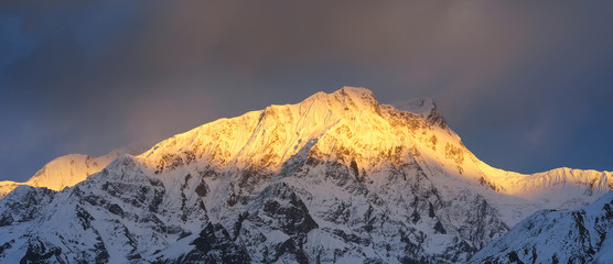High mountain peak during sundown