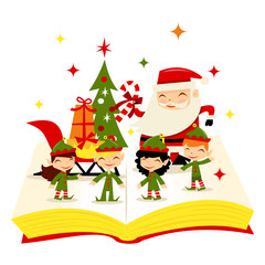 Christmas Santa Elves Story Book