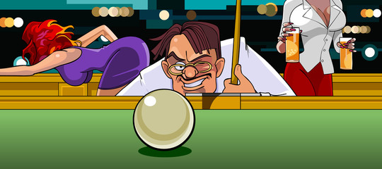 man in the billiard ball aims at